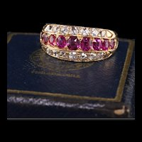 Antique Art Deco Bailey Banks and Biddle 18K Rose Gold Diamond and Ruby Band