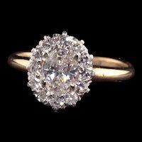 Antique Art Deco 14K Yellow Gold Oval Diamond Engagement Ring