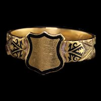 Antique Victorian English 15K Yellow Gold Enamel Hair Signet Mourning Ring