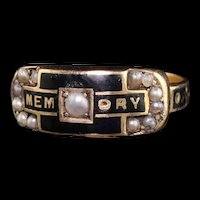 Antique Victorian 15K Yellow Gold Enamel and Seed Pearl Mourning Ring