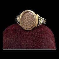Antique Victorian 18K Yellow Gold Enamel Hair Mourning Ring