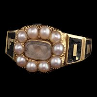 Antique Victorian 18K Yellow Gold Enamel Pearl In Memory of Mourning Ring