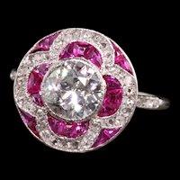 Antique Art Deco Platinum Old European Diamond and Ruby Engagement Ring