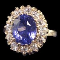 Antique Art Deco 14K Yellow Gold Ceylon Sapphire and Diamond Engagement Ring