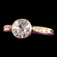 Antique Art Deco Shreve and Co 18K Yellow Gold Old Euro Diamond Engagement Ring