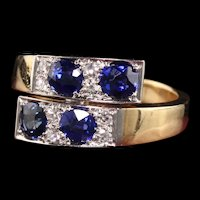 Antique Art Deco 14K Yellow Gold Sapphire and Diamond Bypass Ring