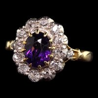 Antique Victorian 18K Yellow Gold Amethyst and Old Mine Diamond Engagement Ring