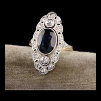 Antique Art Deco 14K Yellow Gold and Platinum Diamond and Sapphire Ring