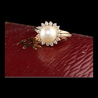 14K Yellow Gold Pearl and Diamond Halo Ring