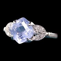 Antique Art Deco 14K White Gold Old Cut Sapphire and Diamond Engagement Ring