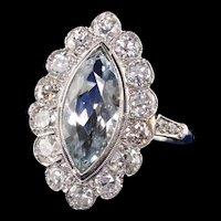 Antique Art Deco Platinum Aquamarine Old European Engagement Ring