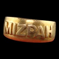 Antique Victorian English 18K Yellow Gold Mizpah Ring - Circa 1886
