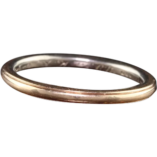 Antique Art Deco 18K Yellow Gold and Platinum Engraved Wedding Band - Size 6 3/4
