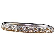 Antique Art Deco 18K White Gold Engraved Wedding Band - Size 5 1/4