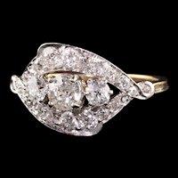 Antique Art Deco 18K and Platinum Old European Diamond Ring