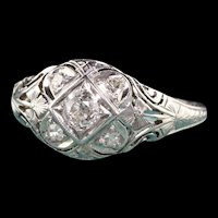 Antique Art Deco Barth 18K White Gold Old European Diamond Ring
