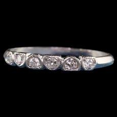 Antique Art Deco Platinum Single Cut Diamond Heart Wedding Band