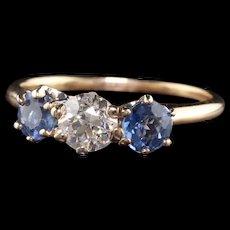 Antique Victorian 14K Yellow Gold Old European Diamond Sapphire Three Stone Ring
