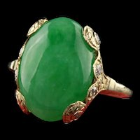 Antique Art Deco 18K Yellow Gold Cabochon Jade and Old European Diamond Ring
