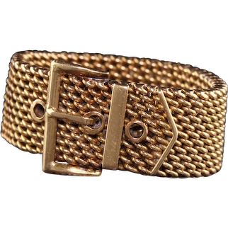Vintage Retro 18K Yellow Gold Mesh Flexible Buckle Ring