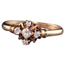 Antique Victorian 14K Rose Gold Old Mine Cut Diamond Ring