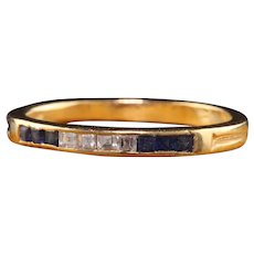 Antique Art Deco Tiffany and Co 18K Yellow Gold Sapphire Carre Cut Diamond Band