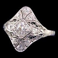 Antique Art Deco Platinum Old European Diamond Filigree Engagement Ring