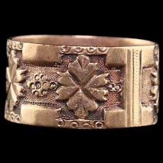 Antique Victorian 14K Rose Gold Engraved Floral Wide Wedding Band