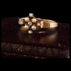 Antique Victorian 10K Yellow Gold Pearl and Old Mine Diamond Cluster Ring