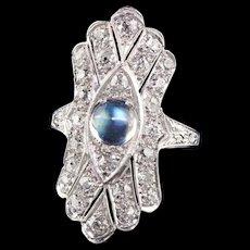 Antique Art Deco Platinum Old European Diamond and Moonstone Shield Ring