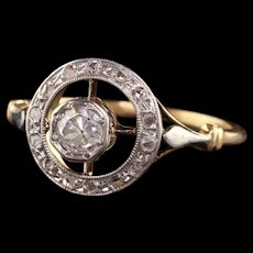 Antique Victorian 18K Yellow Gold Old Mine Cut Diamond Engagement Target Ring