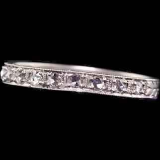 Antique Art Deco Platinum Rose Cut Diamond Engraved Wedding Band