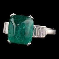Antique Art Deco Platinum Sugarloaf Emerald and Baguette Diamond Ring - GIA