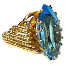 Dramatic Vintage Ring 14K Yellow Gold Brilliant Blue Topaz Marquis Cut Size 7