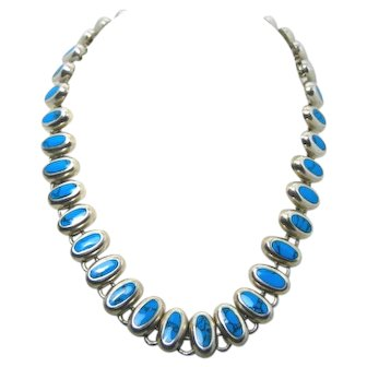 Vintage Southwest Artisan Necklace Sterling Silver with Turquoise TC-264 MEX