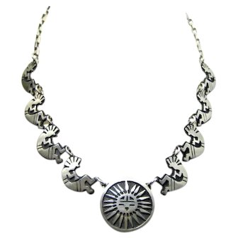Vintage Southwest Sterling Silver KOKOPELLI Necklace 925 MEX