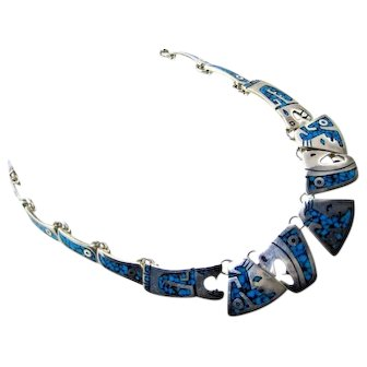 Vintage Southwest Modular Necklace Sterling Silver Turquoise Inlay 925 MEX