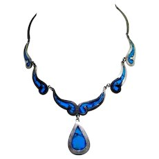 Vintage Necklace Sterling Silver Turquoise Southwest Choker 925 Mexico