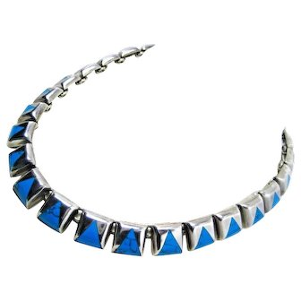 """Vintage Necklace Sterling Silver Turquoise Southwest on 16"""" 925 Mexico 90+grams"""
