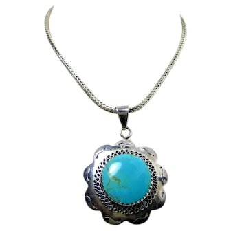 """Vintage Necklace Sterling Silver Turquoise Southwest on 16"""" 925 Mexico 38.0gr"""