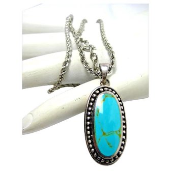 """Vintage Necklace Sterling Silver Turquoise Southwest Pendant on 16"""" Chain Mexico"""