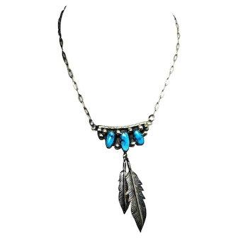 Vintage Navajo Necklace Sterling Silver Turquoise Southwest Style Signed JJ