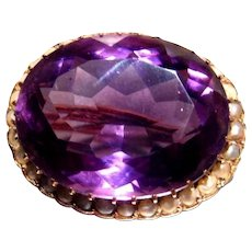"""Antique 14K Rose Gold Brooch Pin with 1"""" Faceted Amethyst with Seed Pearls 7.4g"""