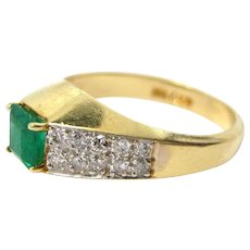 Ladies Vintage 14K Yellow Gold Ring Square Cut Emerald with Diamonds Size 6.5 3.5.g