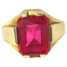 Vintage Art Deco Ring 14K Yellow Gold Hot Pink Glass Stone Size 6 5.3 g