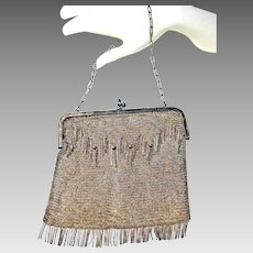 Stunning Art Deco Germany ALPACA Silver Tone Metal Mesh Purse with Blue Point Clasps