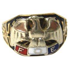 Mens Vintage FOE Ring 10K Gold Fraternal Order of Eagles Size 10.5