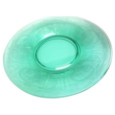 """Pair of Elegant Tiffin Green Glass Plate Dishes with Flying Nun Nymph 6.25"""""""