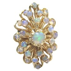 Gorgeous Vintage 14K Yellow Gold OPAL Dome Cluster Ring Size 7.5 8.8gr