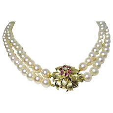 Japanese Akoya Pearls Double Strands with 14K Gold Flower Clasp Rubies Diamond